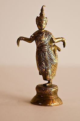 Solid Brass Hindu Goddess Hand Tooled Antique Very Early Stunning