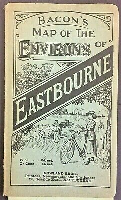 Vintage Bacon's Map Of The Environs Eastbourne Uk Gowland Bros