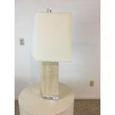 Pair Genuine Bauer Lamp Co. Travertine Marble Lucite Lamps Mid-Century Style