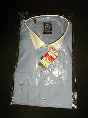 NEW + TAGS in PACKET * BENETTI * BLUE / WHITE LONG SLEEVE SHIRT SZ 17INS RRP £49