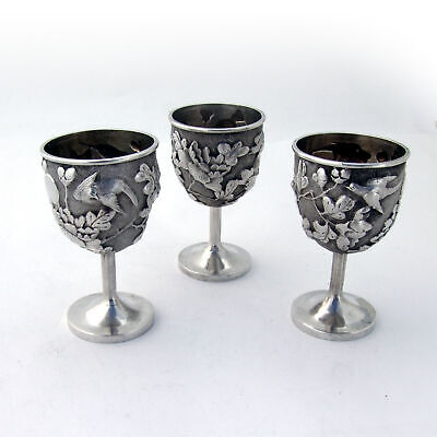 Chinese Export Silver Egg Cups or Cordial Cups 3 Ornate Floral and Bird 1890
