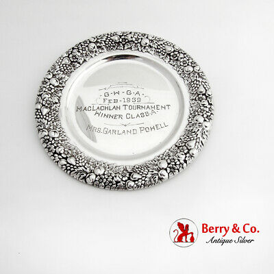 Womens Golf Trophy Bread Plate Floral Border International Sterling Silver 1939