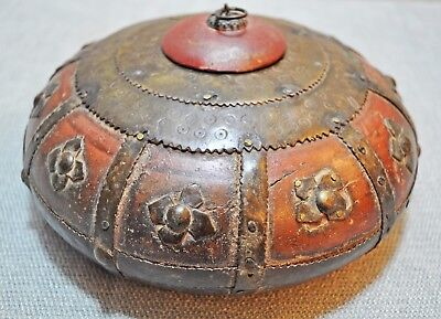 Original Old Antique Hand Carved Brass Fitted Fine Wooden Opium Tobacco Box