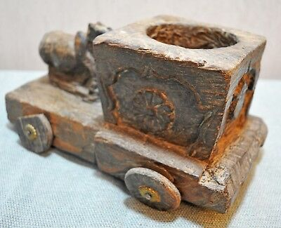 Original Old Antique Cow Hand Carved Wooden Kitchenware Spice Salt Container