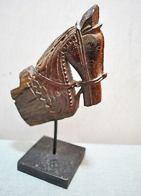 Original Old Antique Hand Carved Architectural Wooden Horse Head Bust Figurine