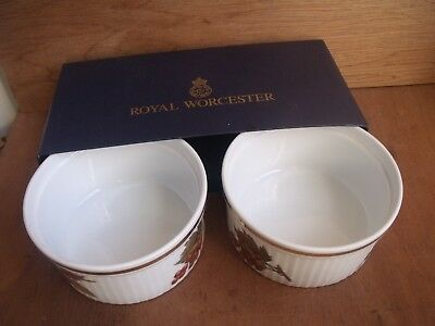 "2 x Royal Worcester Evesham Gold Large 4"" 10cm Ramekin Dishes Unused"