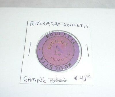 "Vintage RIVIERA CASINO Purple Roulette Chip ""A"" Gaming Token Las Vegas Nevada!"