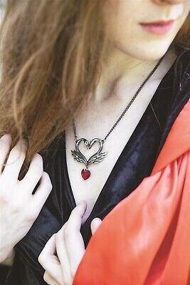 Victorian Trading Black Swan Red Heart Necklace