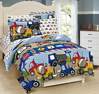 Micasa Colorful Kids Comforter Set Truck Tractor Car Design Twin Full Size