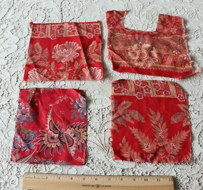 4 Pieces Of Printed 19thc French Turkey Red Cotton Fabric~Bandana
