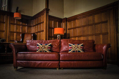 Victorian Style Brandy Tan Red Antique Leather Chesterfield 4 Seater Club Sofa
