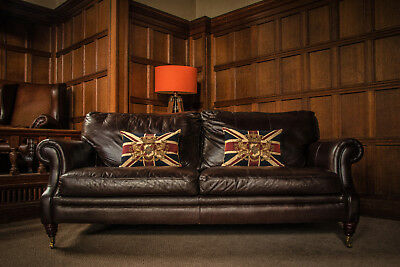 Victorian Style Hand Dyed Antique Black Leather 3 Seater Chesterfield Club Sofa