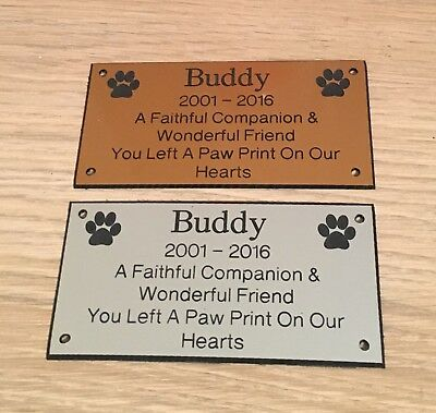 Pet Memorial Bench Plaque (Dogs & Cat paw prints)