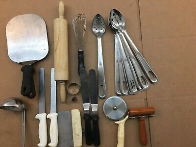 Large Lot Of Miscellaneous Kitchen Gadgets. Spoons Knives Scraper Ladle Whisk