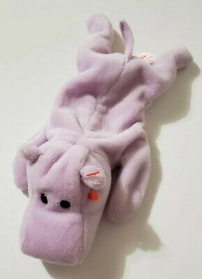 Ty Beanie Babies Baby Happy The Lavender Purple Hippo Plush 1993 No Hang Tag