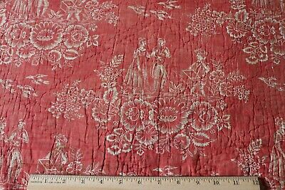 """Antique 18thC Resist Printed Turkey Red Cotton Toile Fabric~L-55"""" X W-22"""""""