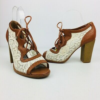 73051465cc1 Gianni Bini Sandals Peep Toe Stacked High Heel Lace Up Womens Rockabilly  Floral