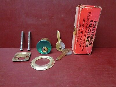 Vintage Solid Brass Nos Rim Cylinder Lock With 2 Keys