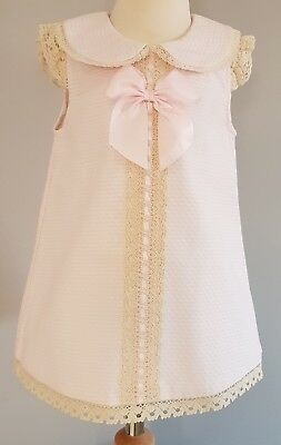 Baby girls Wee Me spanish summer dress, pink with cream crochet lace 2-3years.