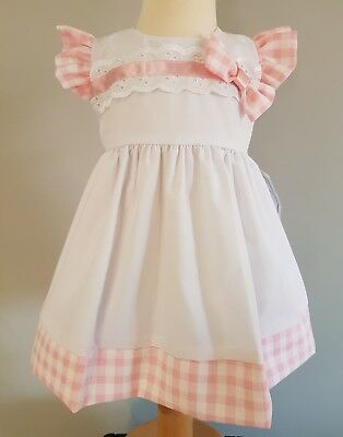 Baby girls spanish traditional style summer dress white, pink gingham 12-18month