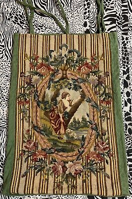 Antique French Aubusson Style Tapestry Needle Point Cushion 38 X 61 Cm