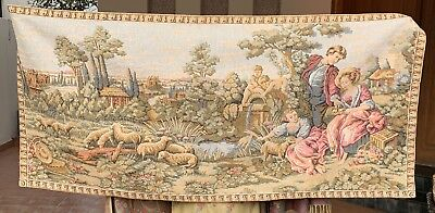 Antique French Aubusson Style Wall Hanging Tapestry - Love Scane 69 X 152 Cm