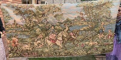 Antique French Aubusson Style Wall Hanging Tapestry - 100  X 196 Cm