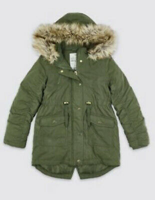 BNWT Marks And Spencer-M&S Longline Parka Coat Girls Green Sz 10-11 Years Fur