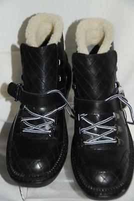 278a64b274f NWT New M Marc Fisher LTD Black Leather Ankle Lug Sole Boots Tie Buckle 6 M
