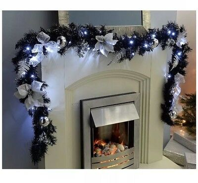 Deluxe Christmas Xmas Pre-Lit Garland 40 Cool White LED Lights 9ft Black Silver