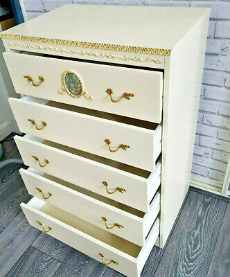 Vintage Olympus French Louis Style Ivory Chest Of Drawers Shabby Chic Project