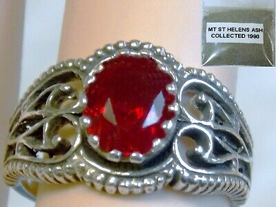 RED HELENITE ANTIQUE 925 STERLING SILVER RING SIZE 7 plus 1980 VOLCANIC ASH