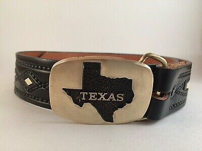 MEN'S CHAMBERS Western Vintage Black Tooled LEATHER BELT & TEXAS BUCKLE SIZE 32