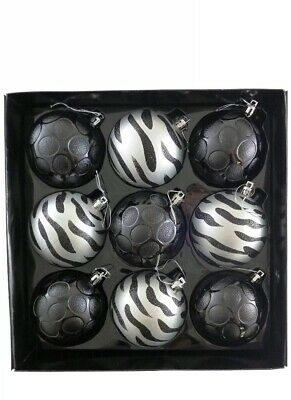 Pack of 9 Luxury Decorated Black / Silver 8cm Christmas Tree Baubles