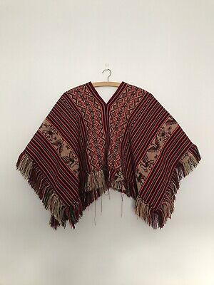 Authentic Peruvian Woven Small Poncho Multi Red Pink Brown Festival Coat