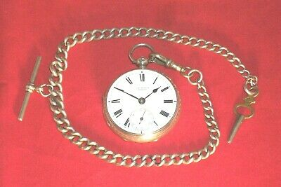 J.W.BENSON Working  English Solid Silver Fusee Pocket Watch + Chain, London 1880