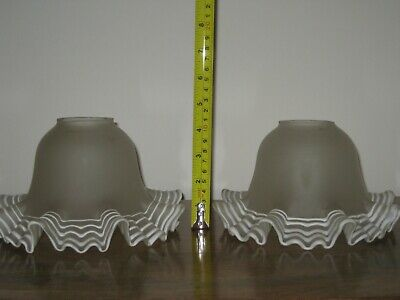 Antique Fluted Satin Glass Lamp Shades Wall Lights