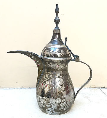 Antique Arabic Islamic Copper Brass Dallah Coffee Tea Pot floral Middle East 9""