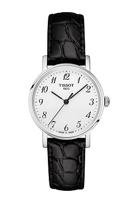 *BRAND NEW* Tissot Women's Black Leather White Dial Watch T1092101603200
