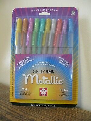 New! Sakura GELLY ROLL Metallic Opaque Ink 10 Pens 57370