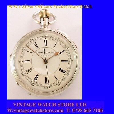 WW1 Stunning Manchester Chronograph Centre Seconds Officers Stop Watch 1917