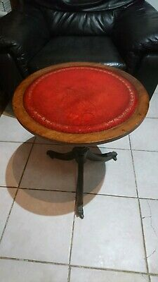 Small Antique / Vintage Round Leather Table on castors with Brass Claw Feet