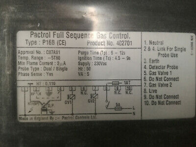 PACTROL FULL SEQUENCE CONTROLLER P16B( CE ) part no 402701 New Still Sealed