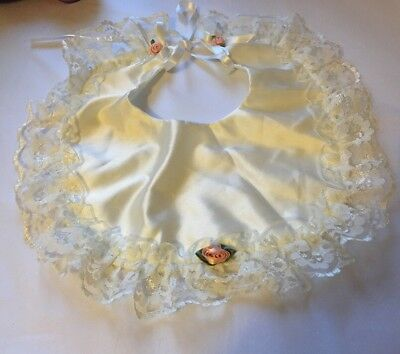 Vintage Lace Baby Bib Ivory Rose Stunning Detachable Tie