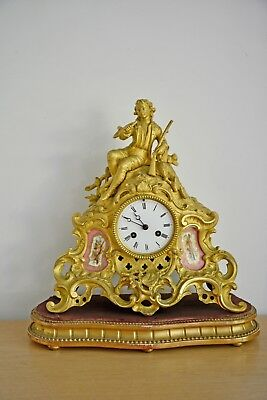 Antique french gilt bronze and sevres porcelain mantle clock