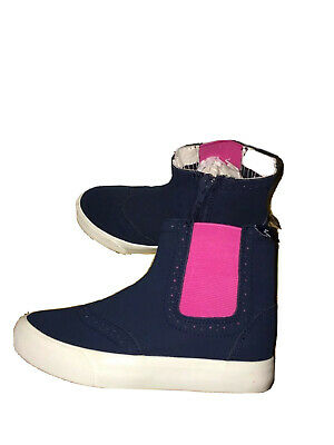 Joules Girls Blue Pink High Top Chelsea Ankle Boots Size Uk 10 Kids Eu 28