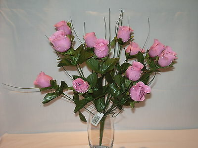 14 Mauve/Pink Satin Rose Bouquet/Bunch With Dew Drops : 41Cm Height