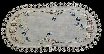 "Antique Vintage Primitive Country Style Runner Hand Embroidery Crochet Hem 20"" x"