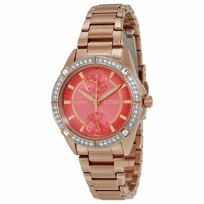 *BRAND NEW* Citizen Women's Eco-Drive Coral Dial Steel Case Watch FD3003-58X