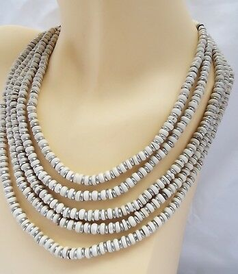 Art Deco Style Vintage 5 Strand Ivory Ceramic & Silver Metal Bead Necklace